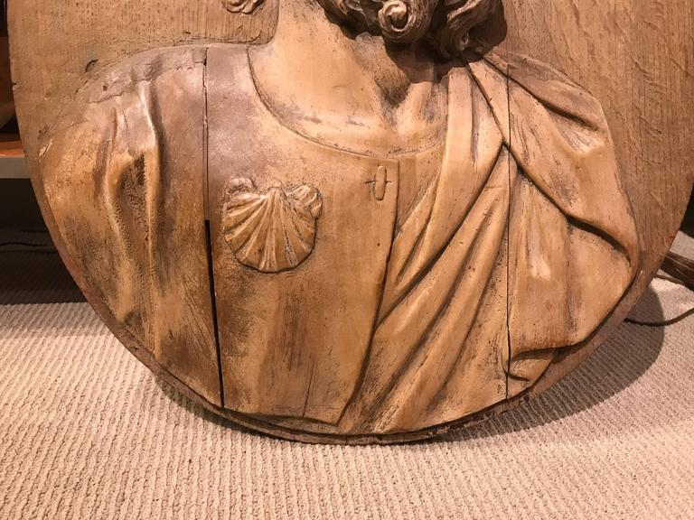 17th Century Carved Relief of Saint James, Lifesize For Sale 5