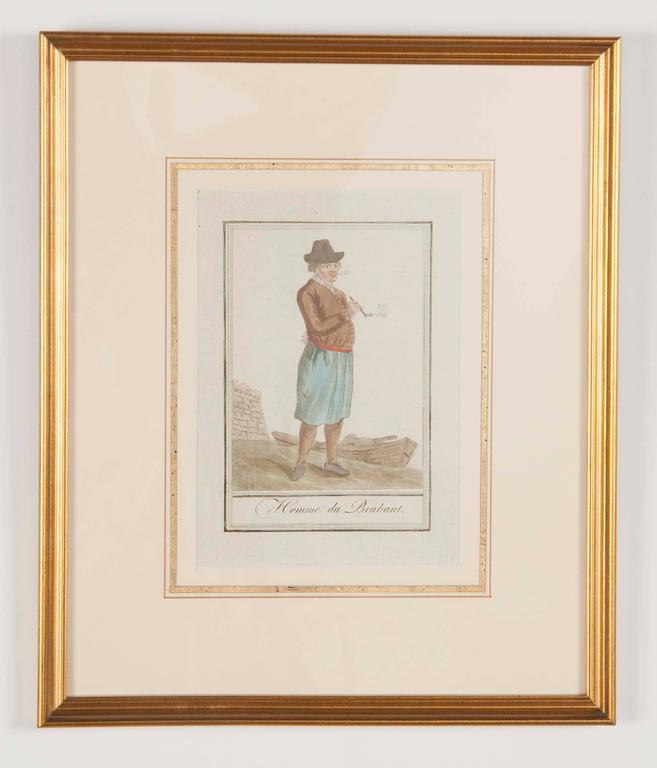 Charming set of six 'Costumes of Various Countries' by Jacques Grasset de Saint-Sauveur, circa 1797. Hand colored engravings on paper. Another six are available in the previous listing. Can be purchased as pairs also. Beautifully matted and framed.