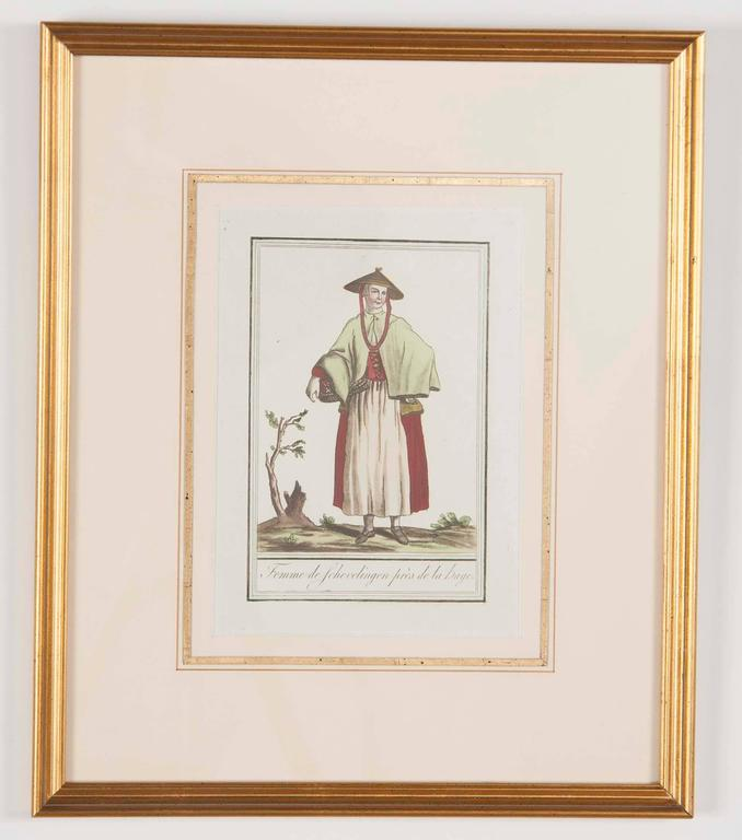 Set of Six Colored Engravings 'Costumes of Various Countries', 18th Century In Excellent Condition In Stamford, CT