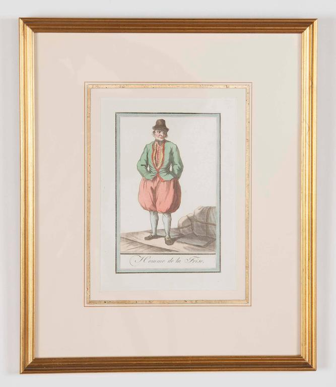 French Set of Six Colored Engravings 'Costumes of Various Countries', 18th Century