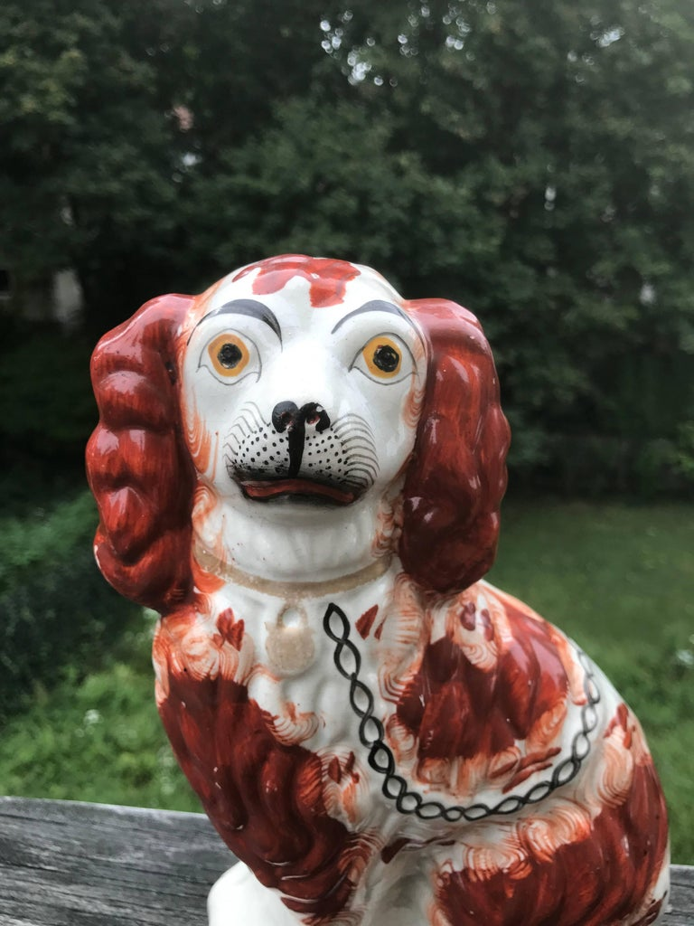 Victorian Pair of English Staffordshire Spaniels For Sale