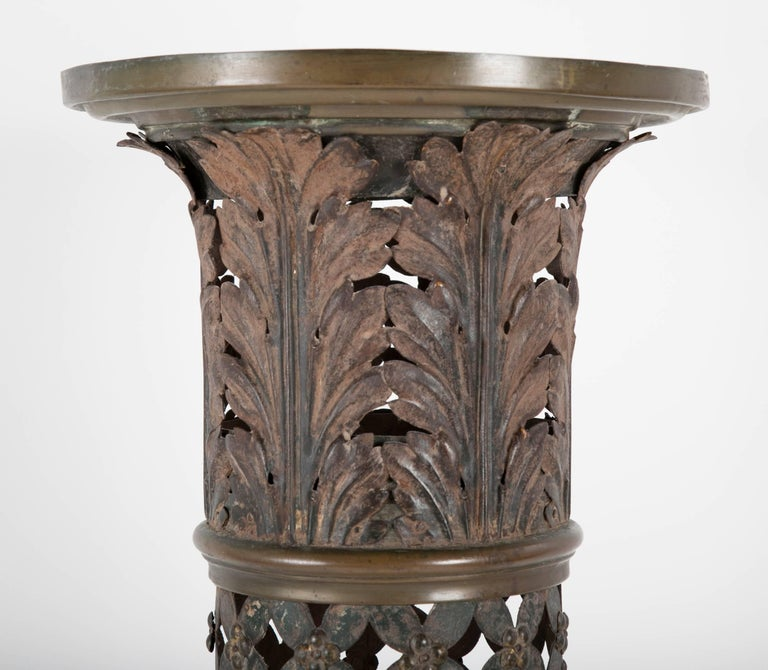 18th Century French Painted and Gilt Tole Column with Corithian Capital For Sale