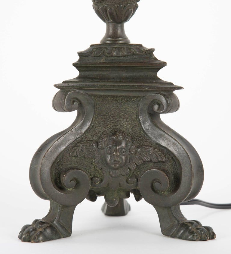 Pair of Italian Baroque Bronze Table Lamps In Excellent Condition For Sale In Stamford, CT