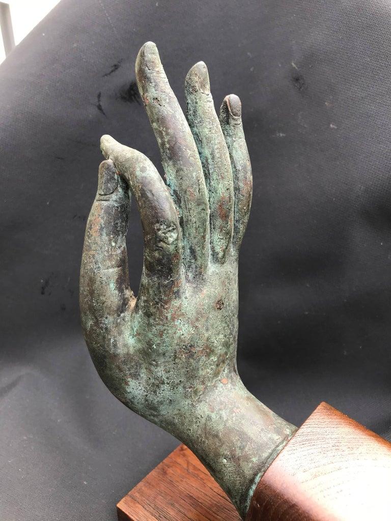 Tribal Bronze Hand of Buddha in the Vitarka Mudra, Thailand  For Sale