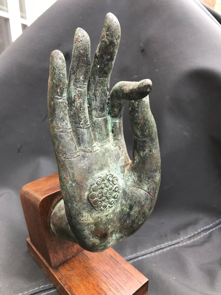 Bronze Hand of Buddha in the Vitarka Mudra, Thailand  In Good Condition For Sale In Stamford, CT