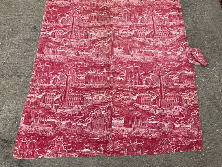 Empire French Toile de Jouy Red and White Textile, Monuments of Paris For Sale