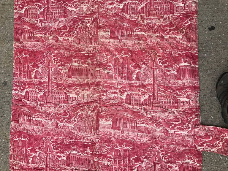 Early 19th Century French Toile de Jouy Red and White Textile, Monuments of Paris For Sale