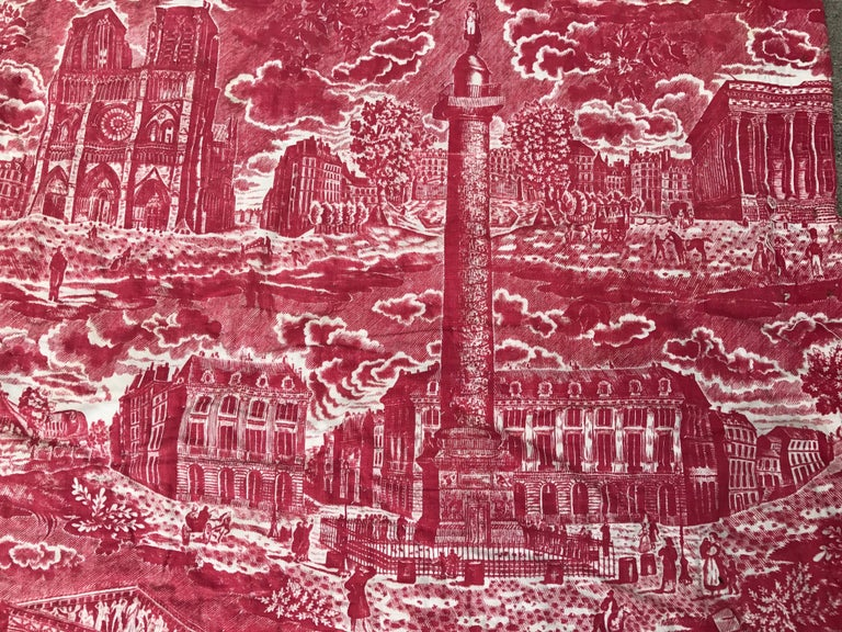 French Toile de Jouy Red and White Textile, Monuments of Paris For Sale 4