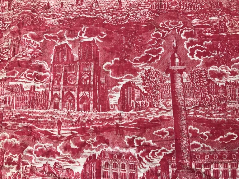 French Toile de Jouy Red and White Textile, Monuments of Paris For Sale 3