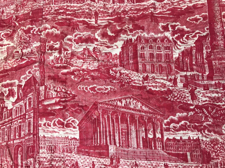 French Toile de Jouy Red and White Textile, Monuments of Paris For Sale 2