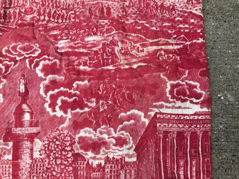 French Toile de Jouy Red and White Textile, Monuments of Paris For Sale 5