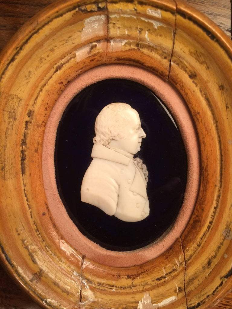 Regency English Portrait Miniature of a Nobleman in Carved Bone For Sale