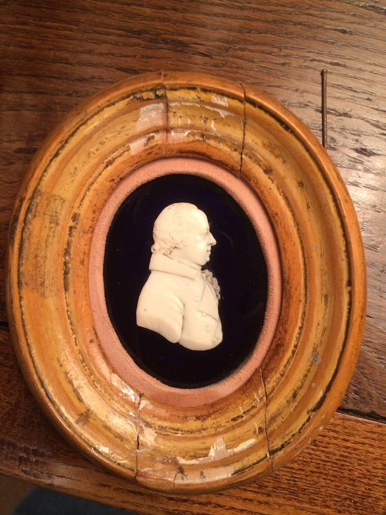 English Portrait Miniature of a Nobleman in Carved Bone In Good Condition For Sale In Stamford, CT