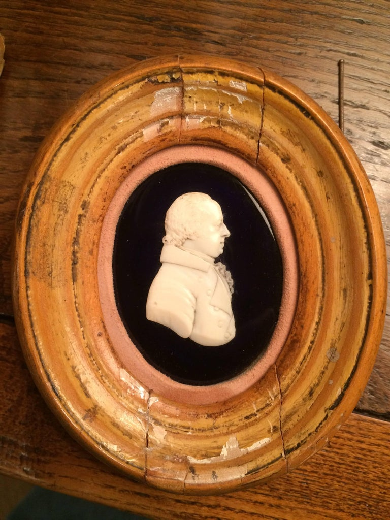 19th Century English Portrait Miniature of a Nobleman in Carved Bone For Sale