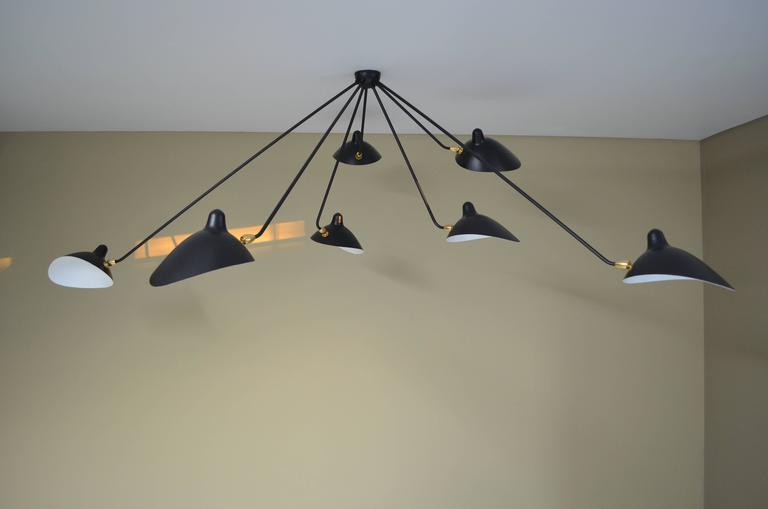 Mid-Century Modern Serge Mouille Spider Ceiling Lamp 7 Arms For Sale