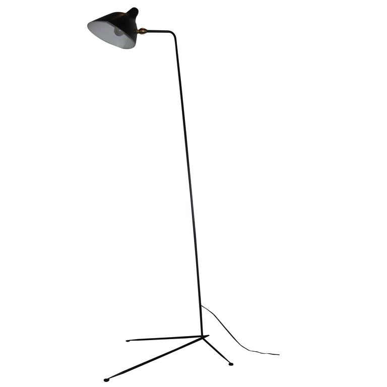 Standing one arm lamp by serge mouille for sale at 1stdibs Serge mouille three arm floor lamp