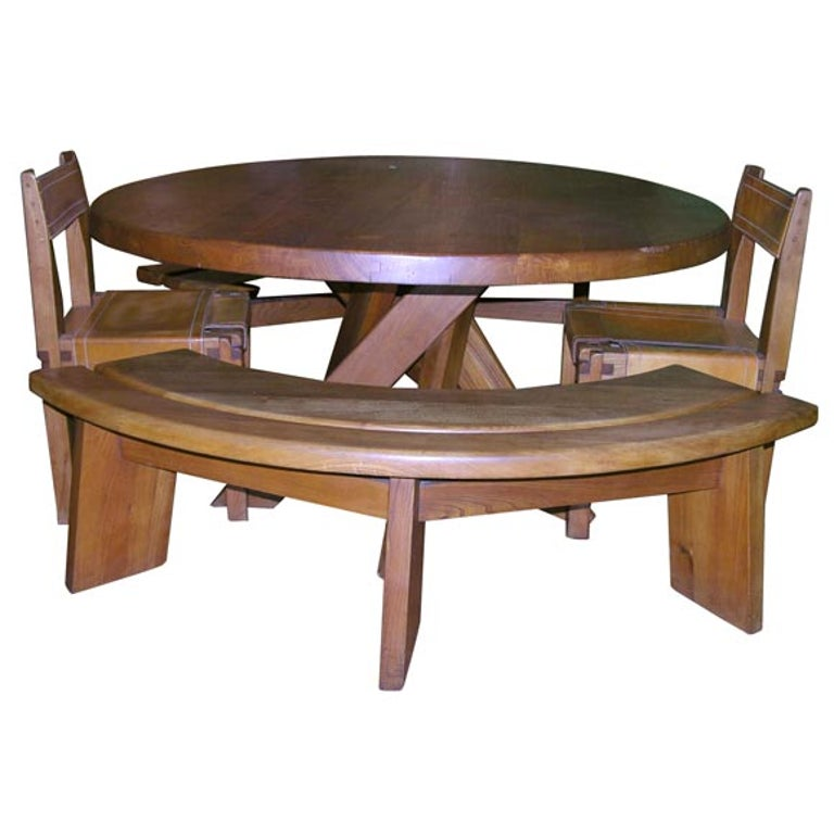 Five-Piece Oak Dining Set by Pierre Chapo For Sale