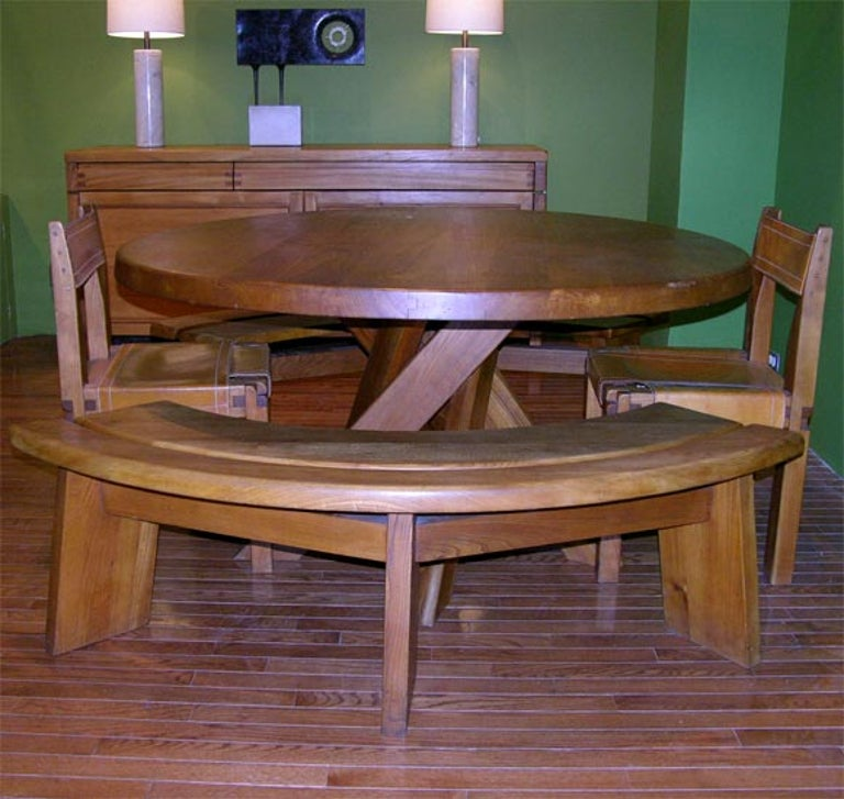 Beautiful set including oak dining table with swirl leg base, two benches and two side chairs with original leather.