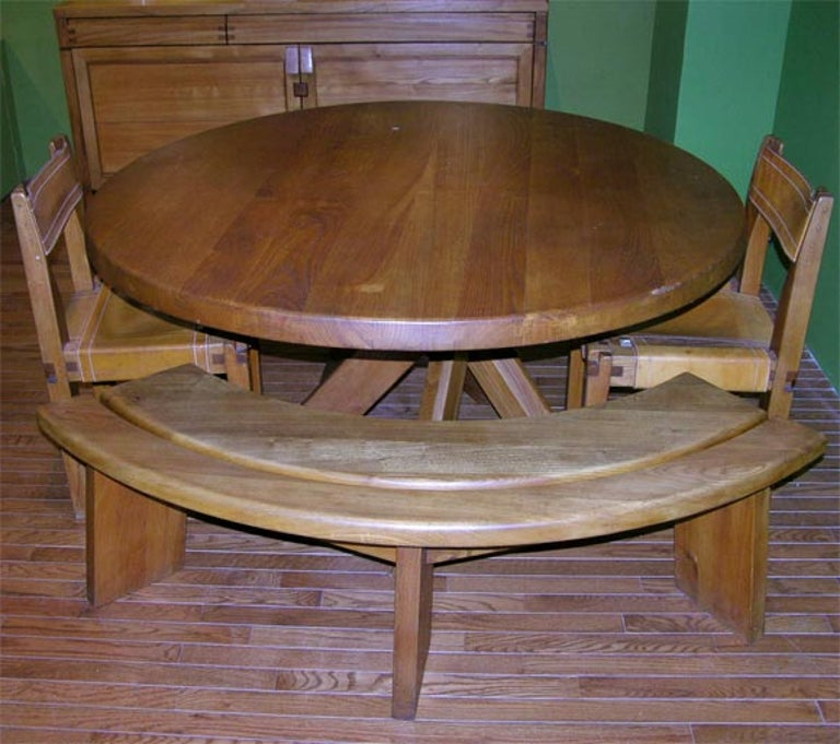 French Five-Piece Oak Dining Set by Pierre Chapo For Sale