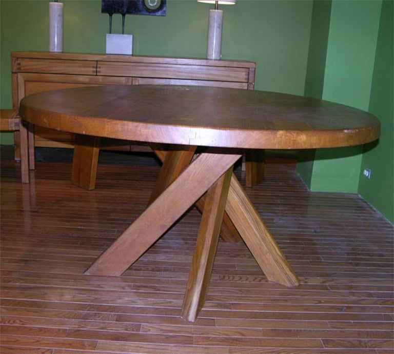 Five-Piece Oak Dining Set by Pierre Chapo For Sale 3