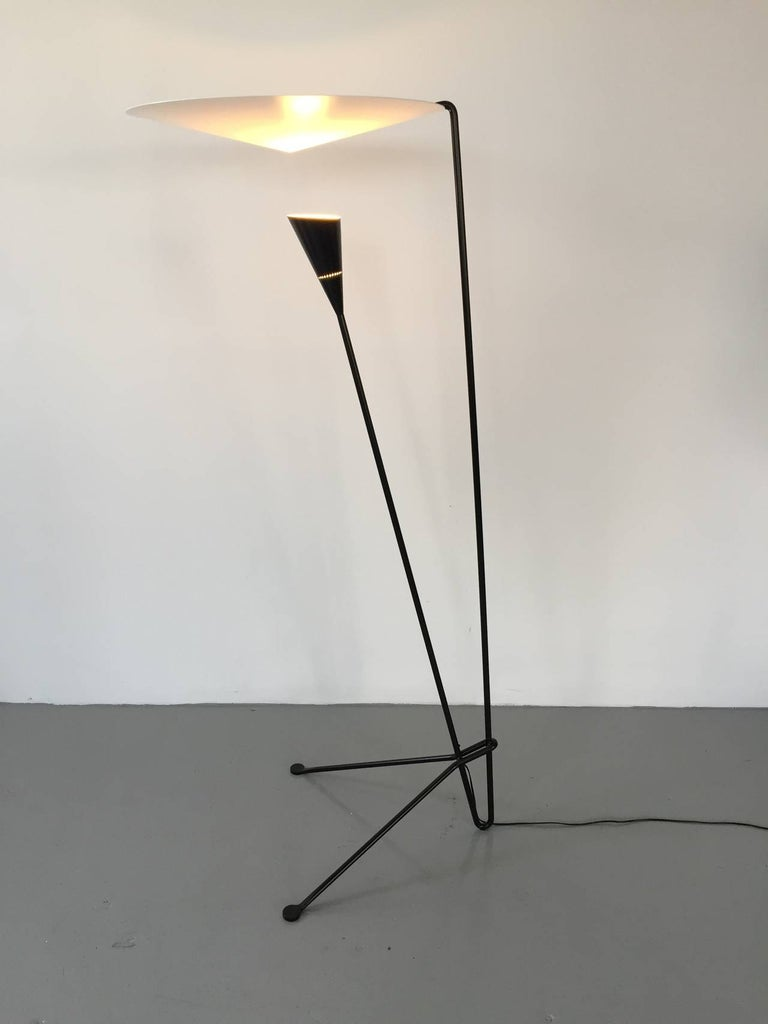Mid-Century Modern Black Standing Floor Lamp by Michel Buffet For Sale
