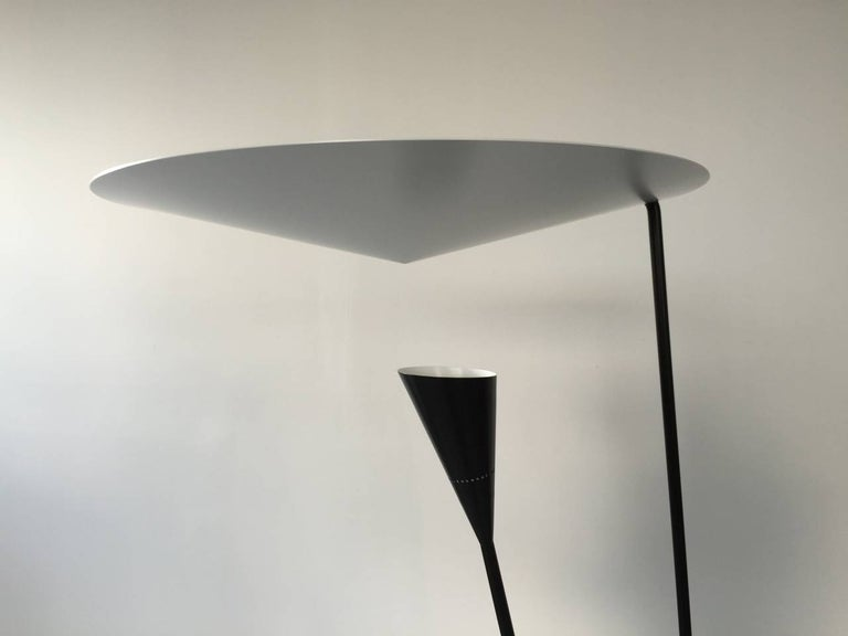 French Black Standing Floor Lamp by Michel Buffet For Sale