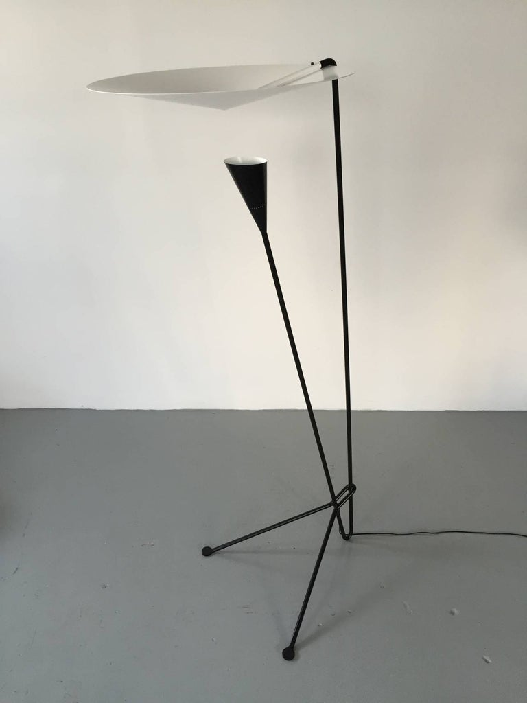 Mid-20th Century Black Standing Floor Lamp by Michel Buffet For Sale