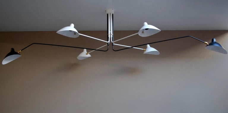 Mid-Century Modern Ceiling Lamp with Six Rotating Arms in Black and White by Serge Mouille For Sale