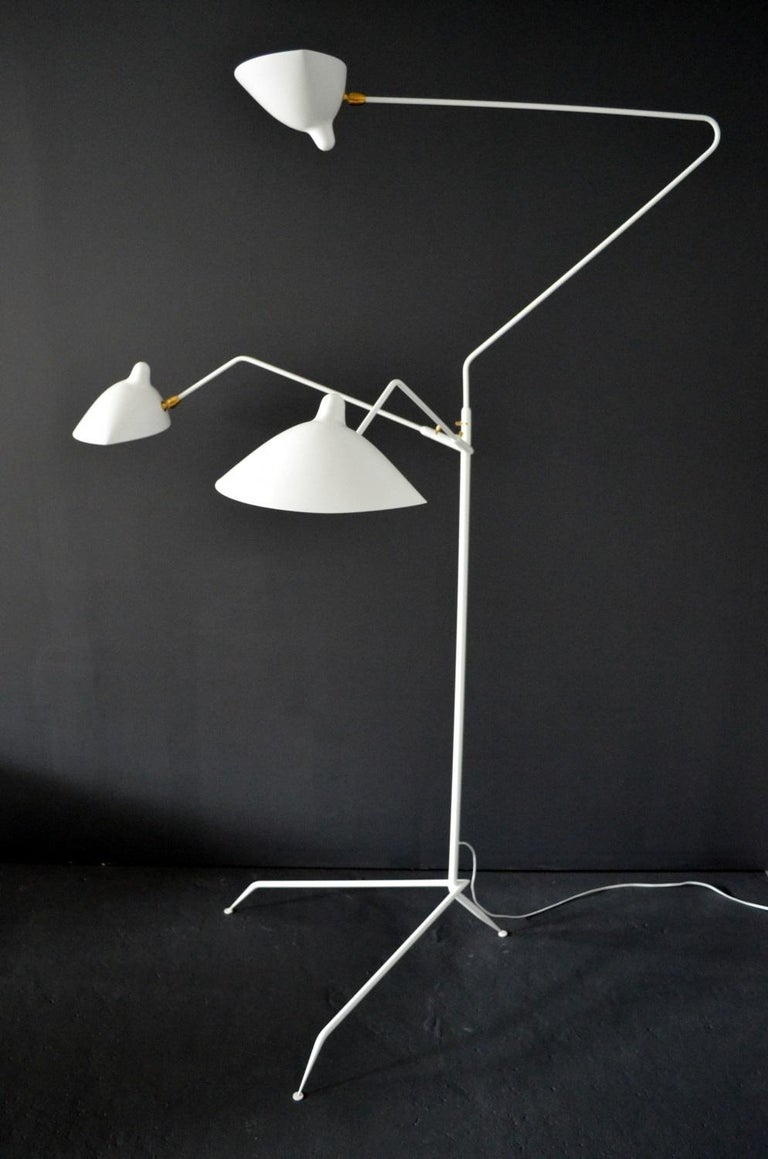 Mid-Century Modern Standing Lamp with Three Arms in White by Serge Mouille For Sale