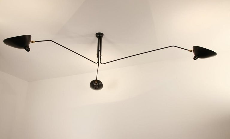 Mid-Century Modern Three-Arm Ceiling Lamp in Black by Serge Mouille For Sale