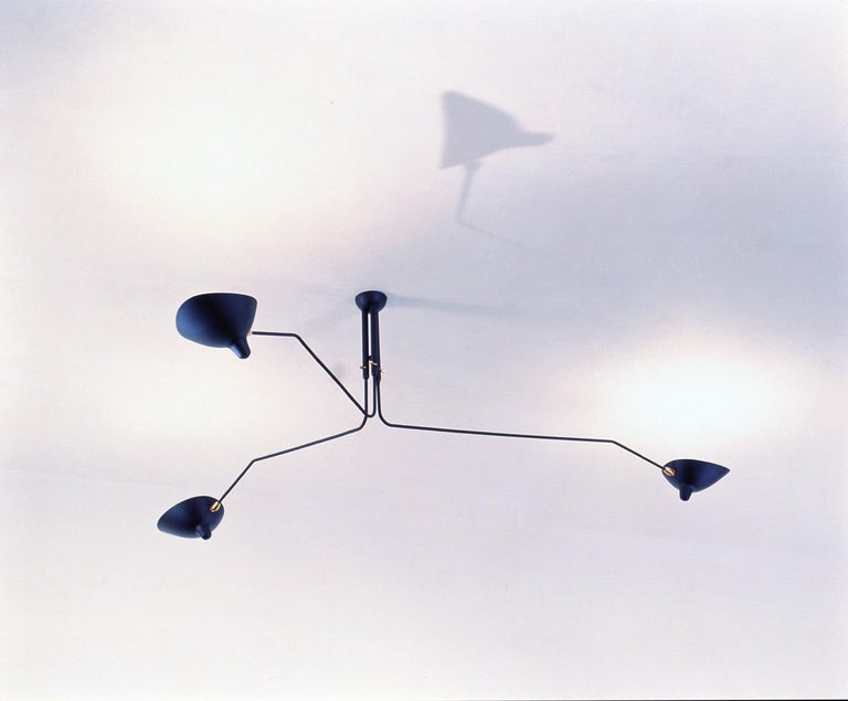 French Three-Arm Ceiling Lamp in Black by Serge Mouille For Sale