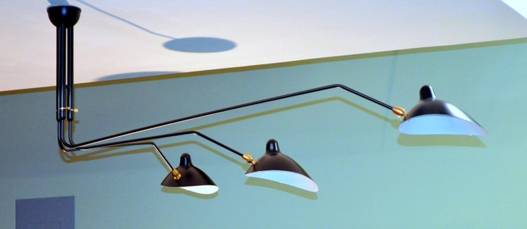 Painted Three-Arm Ceiling Lamp in Black by Serge Mouille For Sale