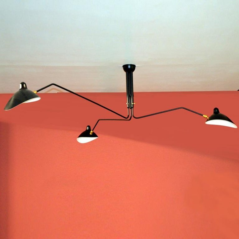 Three-Arm Ceiling Lamp in Black by Serge Mouille In Excellent Condition For Sale In Brooklyn, NY