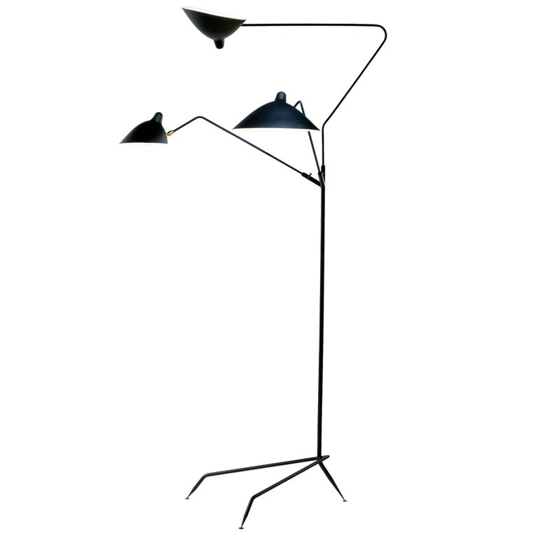 Standing Lamp with Three Arms in Black by Serge Mouille