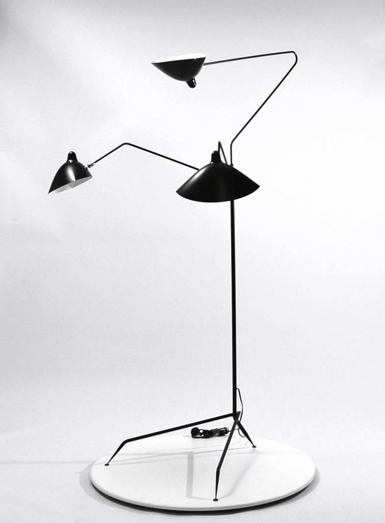 Mid-Century Modern Standing Lamp with Three Arms in Black by Serge Mouille For Sale
