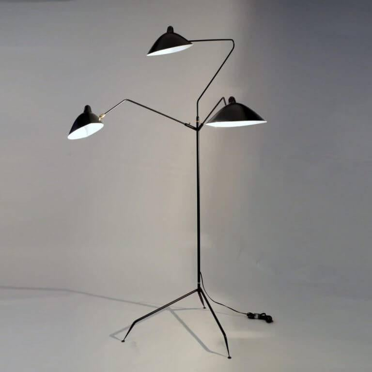 French Standing Lamp with Three Arms in Black by Serge Mouille For Sale