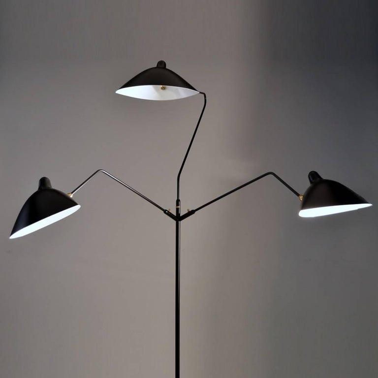 Painted Standing Lamp with Three Arms in Black by Serge Mouille For Sale