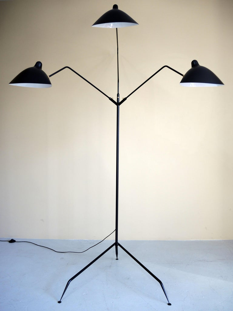Standing Lamp with Three Arms in Black by Serge Mouille In Excellent Condition For Sale In Brooklyn, NY