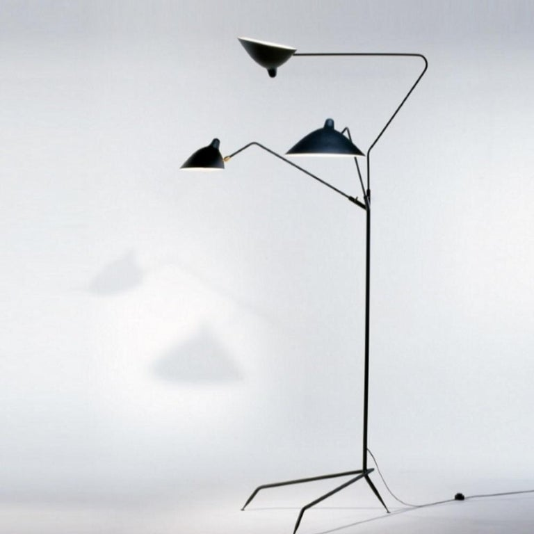 Contemporary Standing Lamp with Three Arms in Black by Serge Mouille For Sale