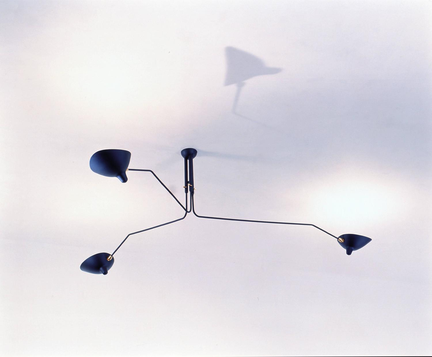 Ceiling lamp three rotating arms by serge mouille at 1stdibs Serge mouille three arm floor lamp