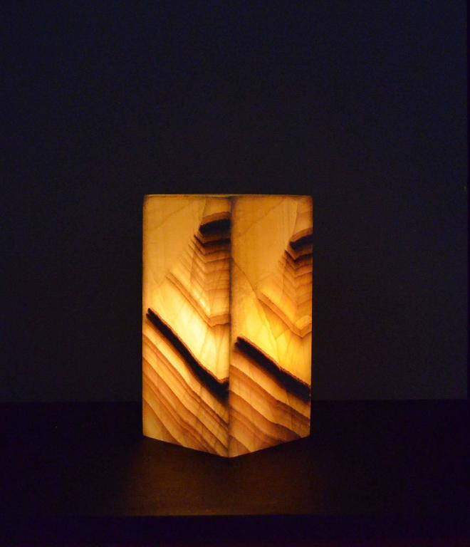 Modern Square Base Onyx Table Lamp For Sale