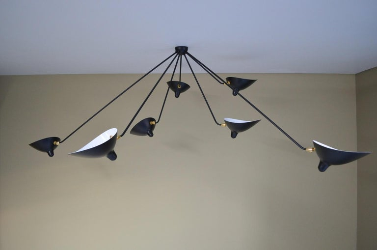 French Serge Mouille Spider Ceiling Lamp 7 Arms For Sale