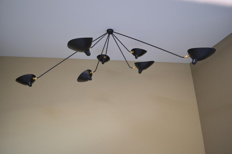 Painted Serge Mouille Spider Ceiling Lamp 7 Arms For Sale