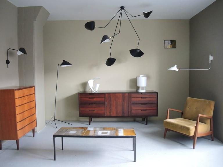 Mid-Century Modern Falling Arm Ceiling Lamp by Serge Mouille For Sale