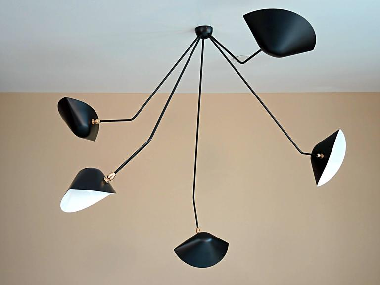 French Falling Arm Ceiling Lamp by Serge Mouille For Sale