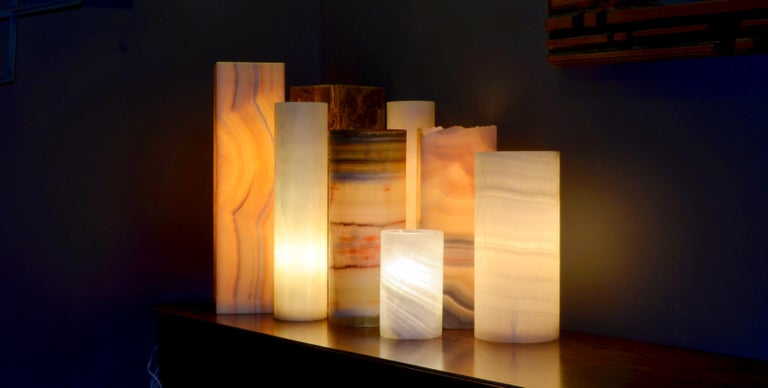 South American Ambient Table Lamp in Onyx For Sale