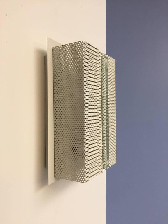 German Wall Sconce with Perforated Metal For Sale