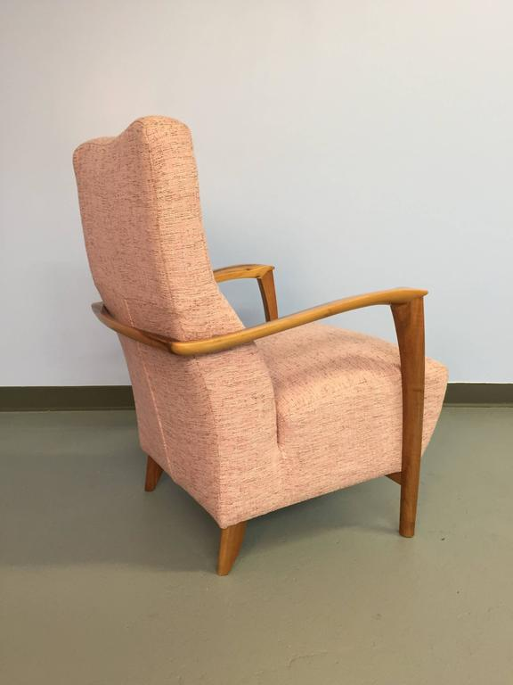 Mid-Century Modern Italian Armchair with Carved Wood Frame and Pink Upholstery For Sale