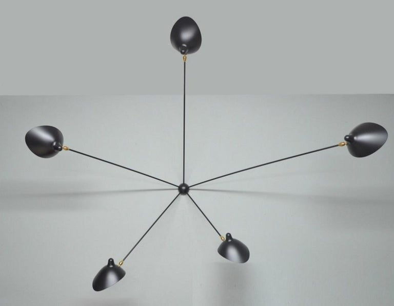 Painted Serge Mouille Spider Sconce Five Arms in Black For Sale