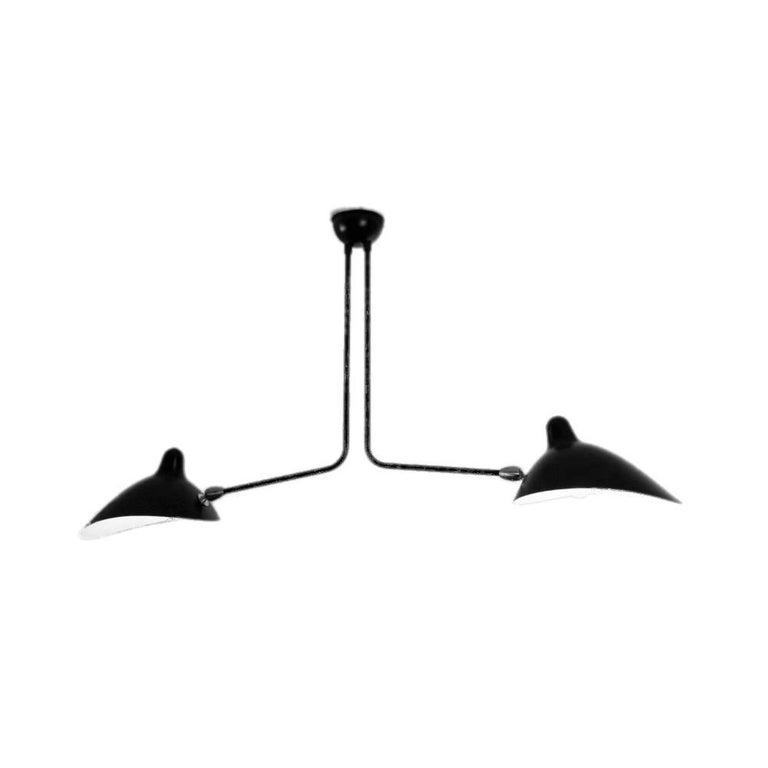Simple and unique this ceiling lamp has two symmetrical curved arms which are fixed, with shades that can be rotated to any position. An elegant lamp with a small footprint that gives character to any room.   Available in black or white.